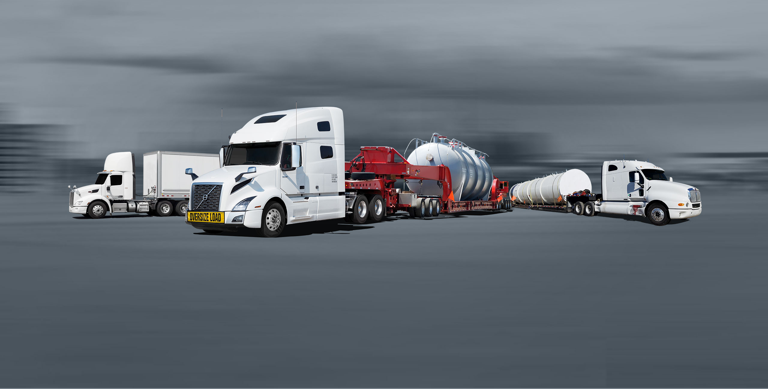 Transport trucks with dry van and flatbed trailers